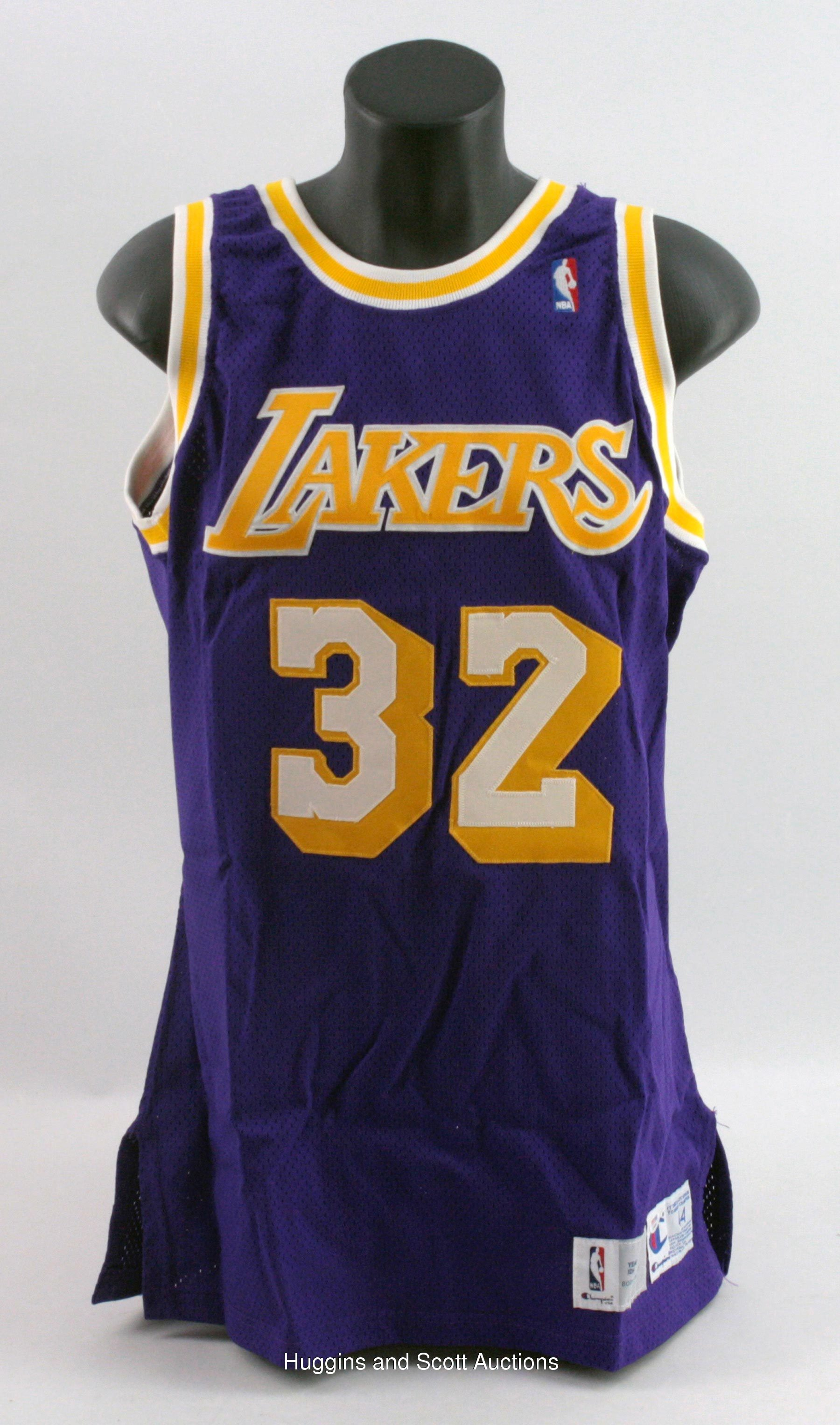 3d7fab5dad01 Magic Johnson Signed Team-Issued 1991-92 Los Angeles Lakers Road Jersey