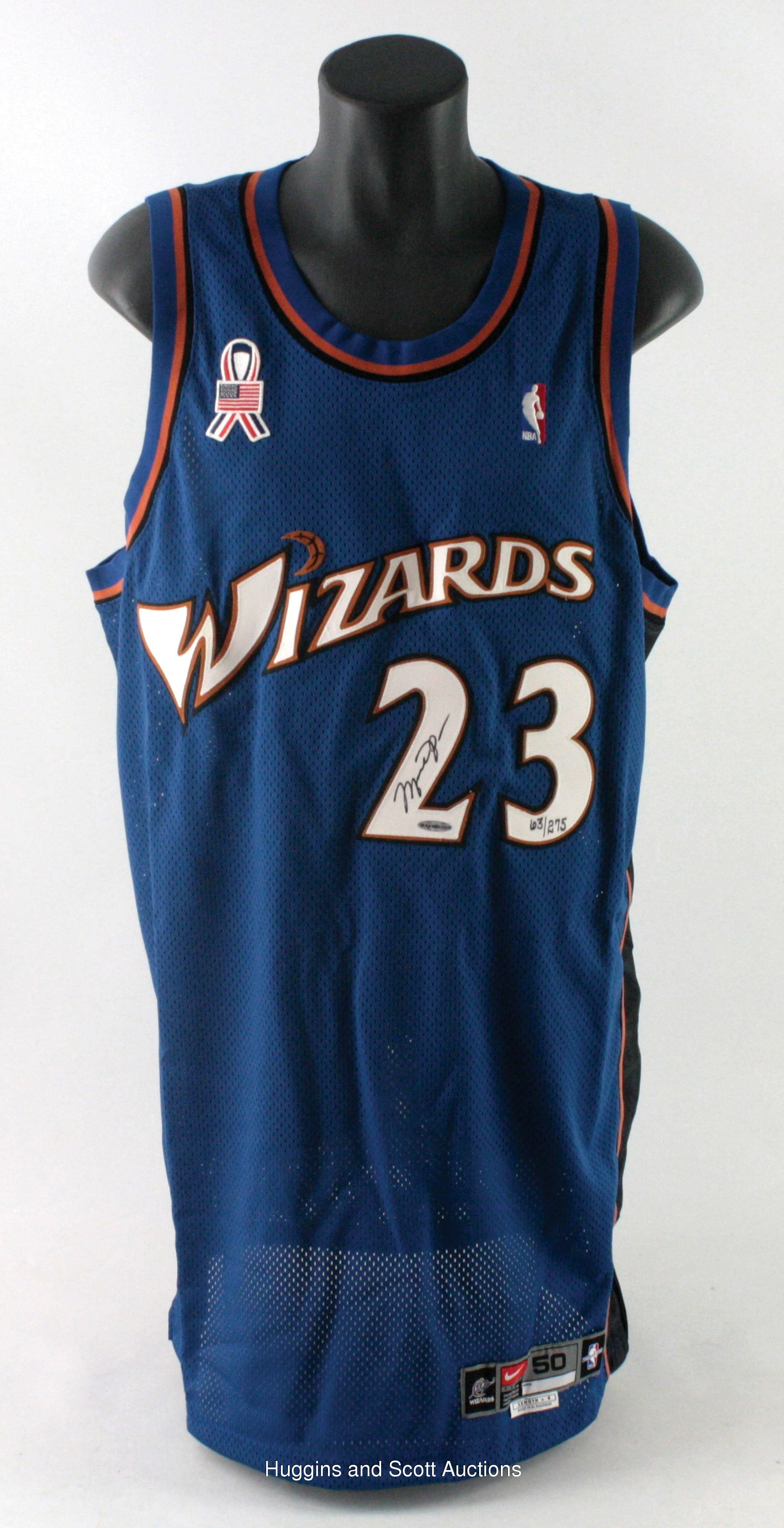 save off 982cd 40635 Michael Jordan Single-Signed Wizards Jersey with Sept. 11th ...